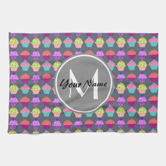 Gray Cupcakes, Personalized Name Monogram Kitchen Towel