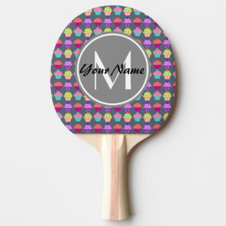 Gray Cupcakes, Personalized Name Monogram Ping Pong Paddle
