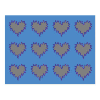 Gray Curly Edge Hearts on Blue Postcard