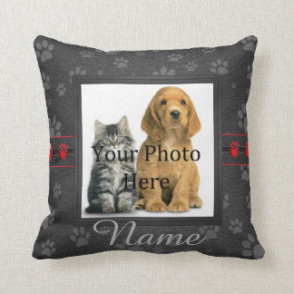 Gray Custom Paw Prints Cat or Dog Memorial Throw Pillow