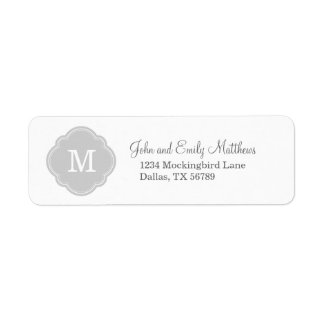 Gray Custom Personalized Monogram Return Address Label