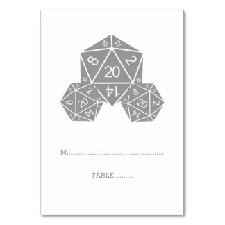 Gray D20 Dice Place Card Table Cards