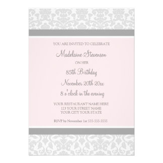 Gray Damask 85th Birthday Party Invitations