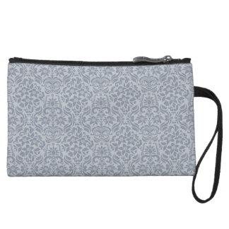 Gray Damask Accessory Clutch or Makeup Bag Wristlet Purse