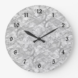 Gray Damask Elegant Bathroom Set Clock