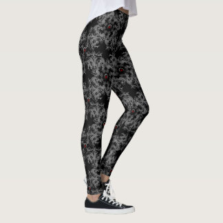 Gray Damask Jeweled Print Goth Leggings