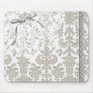 Gray Damask Lace and Ribbon Mouse Pad