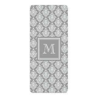 Gray Damask Pattern 1 with Monogram Card
