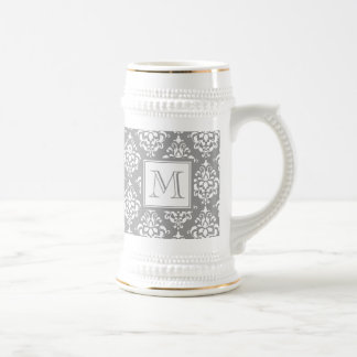 Gray Damask Pattern 1 with Monogram Beer Steins
