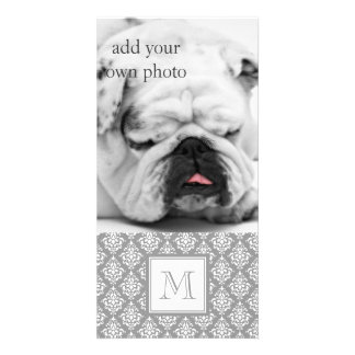 Gray Damask Pattern 1 with Monogram Photo Card