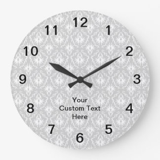 Gray Damask Pattern with Custom Black Text. Large Clock