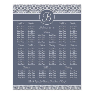 Gray Damask Wedding Reception Seating Chart Poster