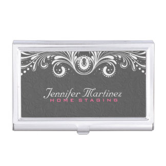 Gray Damasks White Vintage Lace Business Card Holder