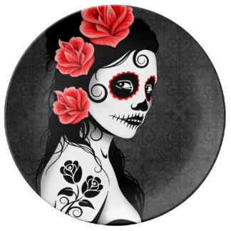Gray Day of the Dead Sugar Skull Girl Porcelain Plate