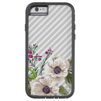 Gray Diagonal Stripes With Purple Flowers Tough Xtreme iPhone 6 Case