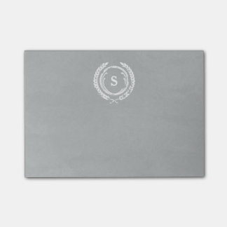 Gray Distressed Laurel Monogram Post-it Notes