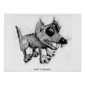 gray dog with teeth poster