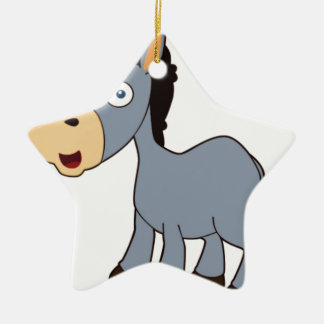 gray donkey ceramic star ornament