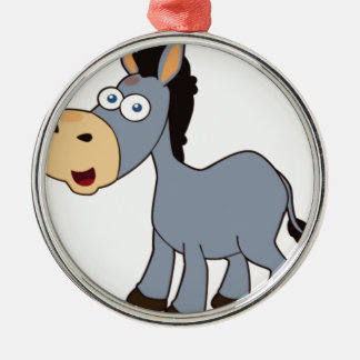 gray donkey Silver-Colored round ornament
