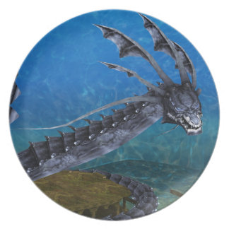 Gray Dragon Dinner Plate