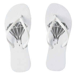 Gray dripping diamond White Adult, Slim Straps Flip Flops