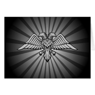 Gray eagle with two heads card