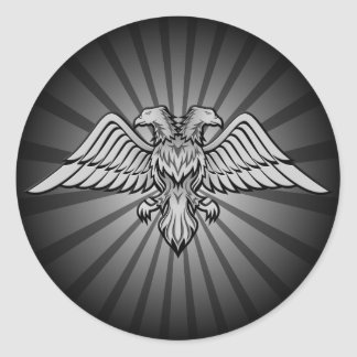 Gray eagle with two heads classic round sticker