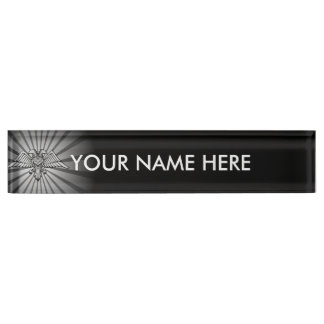 Gray eagle with two heads desk nameplates