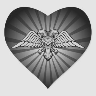 Gray eagle with two heads heart sticker
