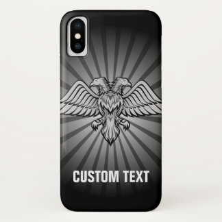 Gray eagle with two heads iPhone x case