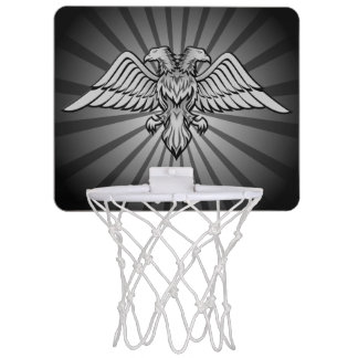 Gray eagle with two heads mini basketball hoop