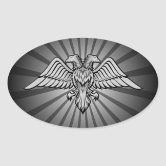 Gray eagle with two heads oval sticker