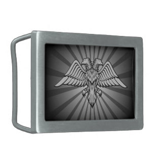 Gray eagle with two heads rectangular belt buckle