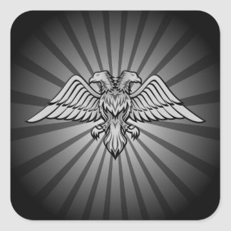 Gray eagle with two heads square sticker