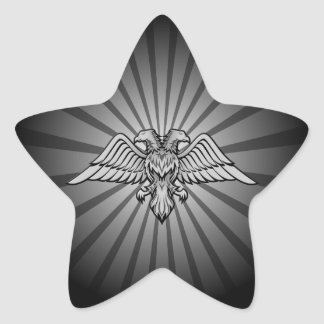 Gray eagle with two heads star sticker