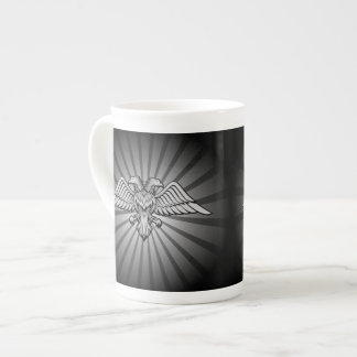 Gray eagle with two heads tea cup