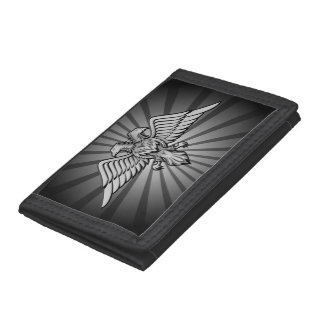 Gray eagle with two heads tri-fold wallets