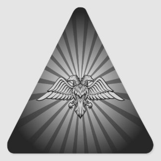 Gray eagle with two heads triangle sticker