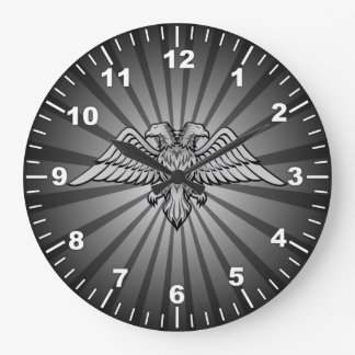 Gray eagle with two heads wall clock