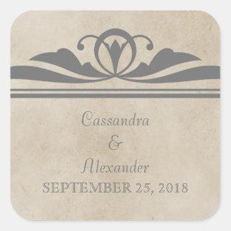 Gray Elegant Deco Wedding Stickers