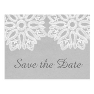 Gray Elegant Lace Save the Date Postcard