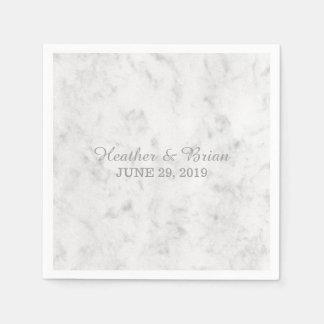 Gray Elegant Marble Wedding Disposable Napkin