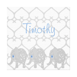 Gray Elephant Baby Nursery Canvas Art Print