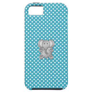 Gray elephant blue and white polka dots iPhone 5 covers
