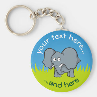 Gray elephant cartoon keychain