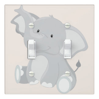 Gray Elephant Joy Light Switch Cover