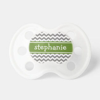 Gray & Emerald Chevron Pattern - Baby Girl or Boy Baby Pacifiers