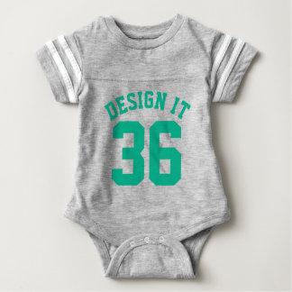 Gray & Emerald Green Baby   Sports Jersey Design Baby Bodysuit