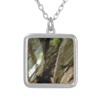 gray face of rock silver plated necklace