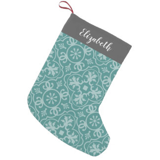 Gray Farmhouse Pattern Custom Name CAN EDIT COLOR Small Christmas Stocking